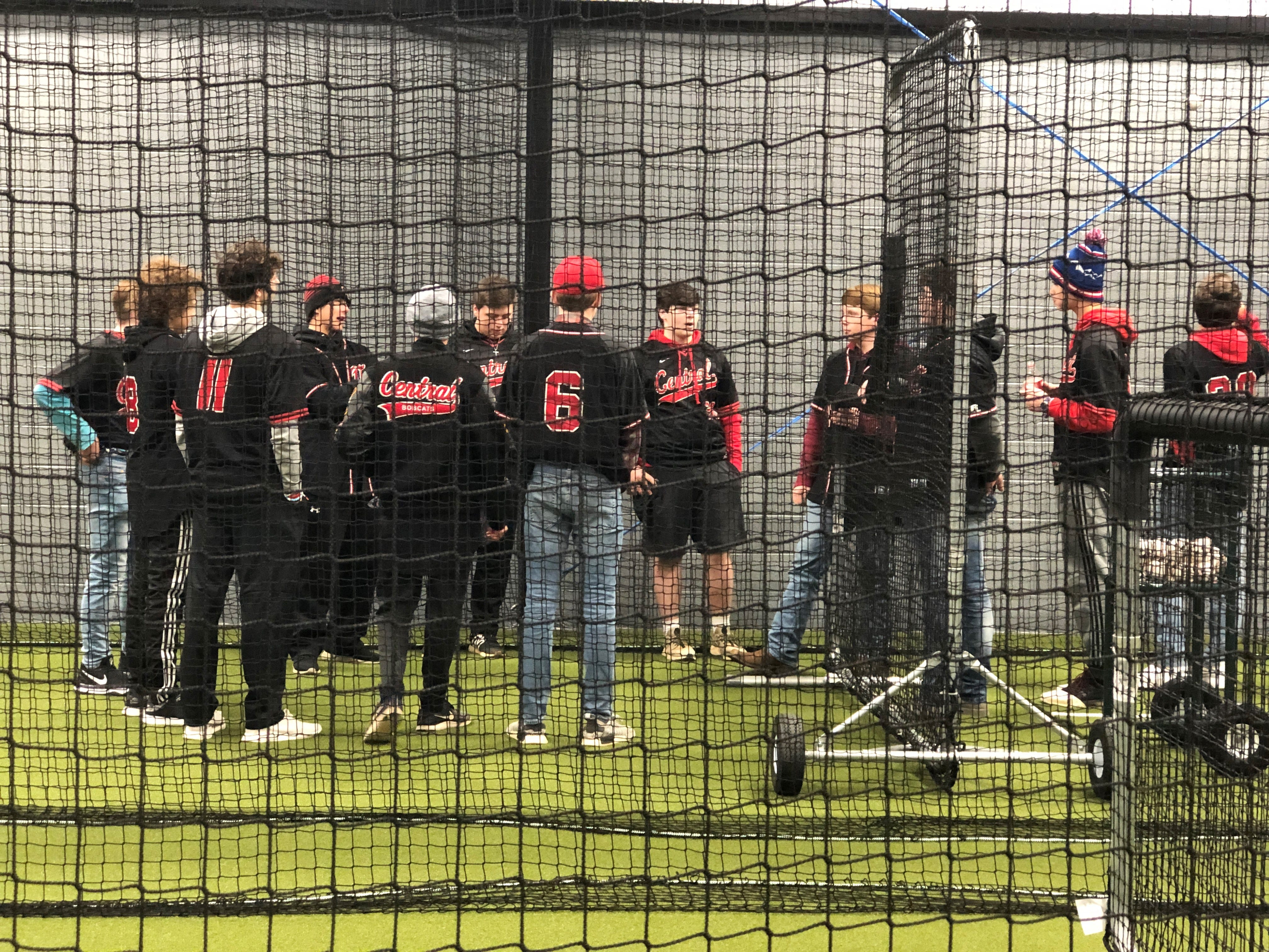 "Central High School baseball players check out the new indoor Hitting Facility. ""We wanted the community to come by and see what the building looks like inside - we had a lot of community support,"" said Andy Bolton, who headed the three-year project."
