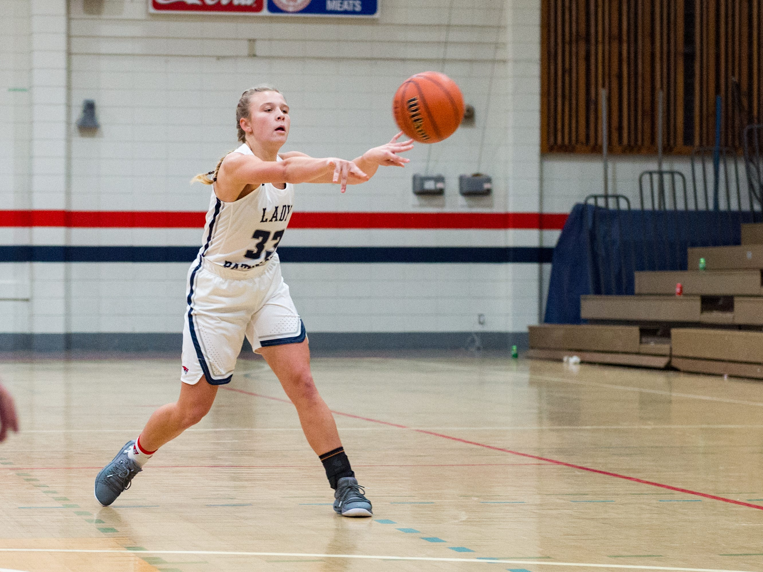 Katelyn Gunter passes the ball as Notre Dame and North Vermillion face off in Girls Basketball Tournament at North Vermillion High School. Tuesday, Nov. 20, 2018.