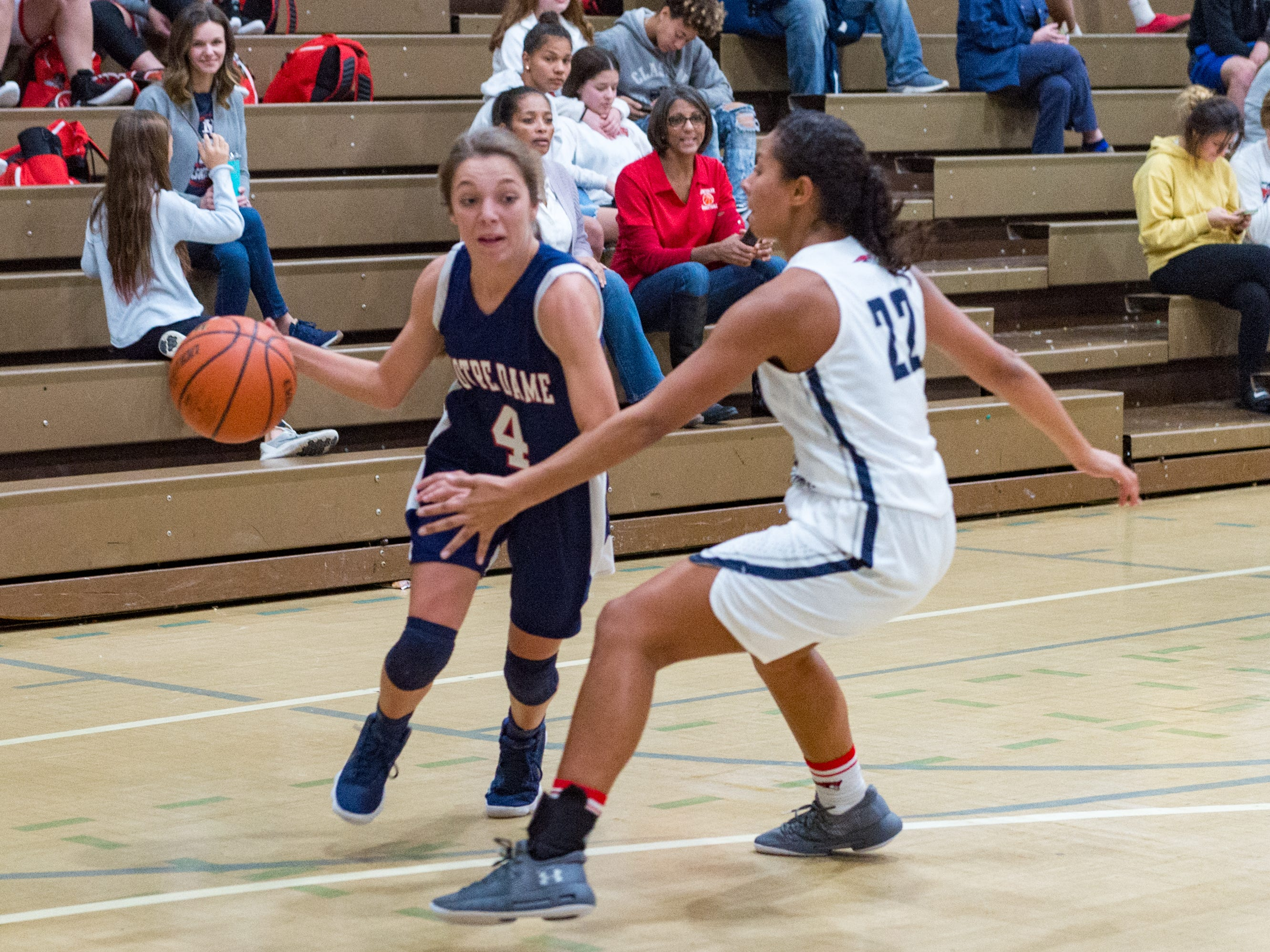 G. Boudreaux drives to the basket as Notre Dame and North Vermillion face off in Girls Basketball Tournament at North Vermillion High School. Tuesday, Nov. 20, 2018.