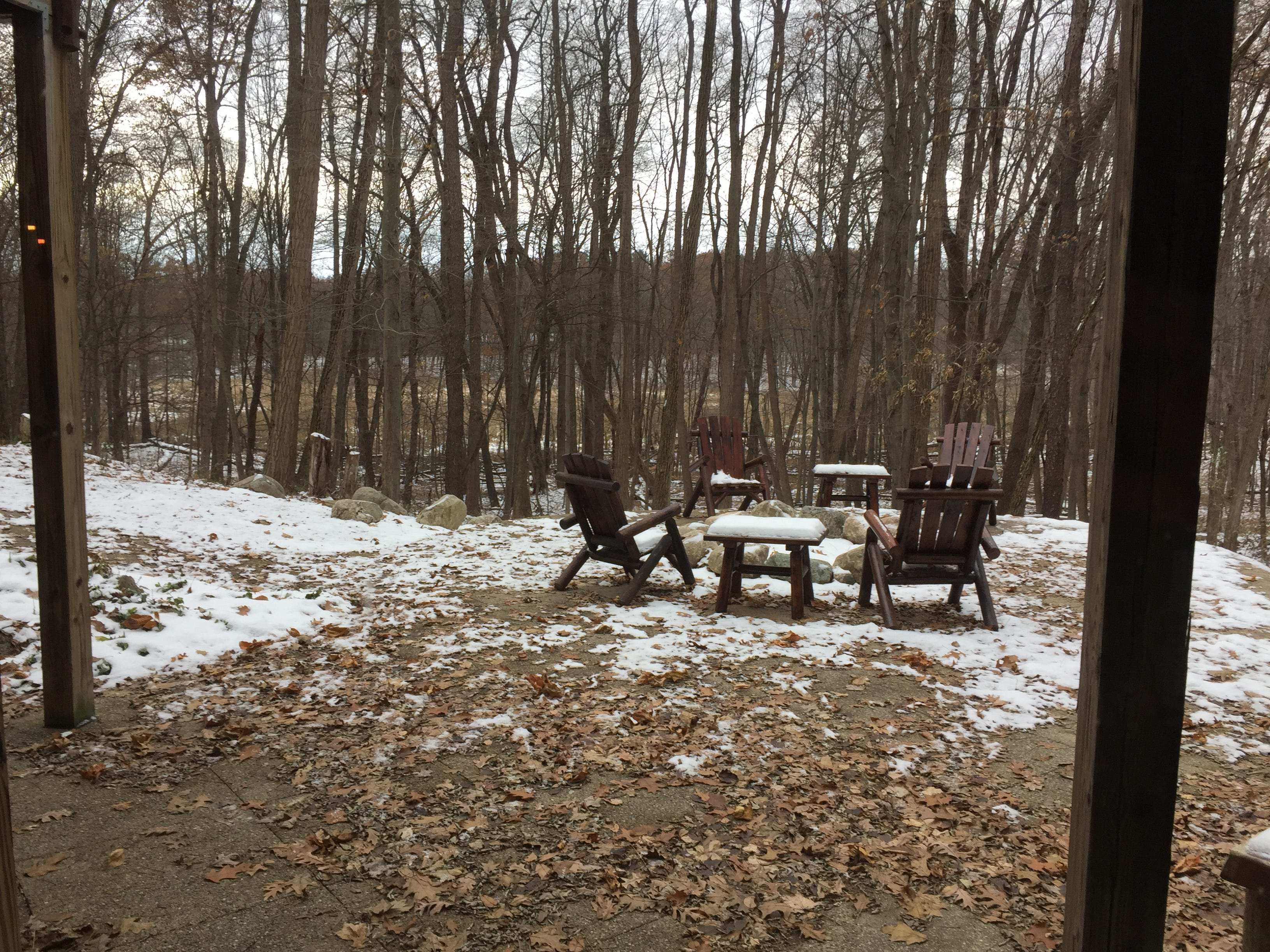 A log cabin home in Hartland Township, shown Wednesday, Nov. 21, 2018, overlooks a wooded area.