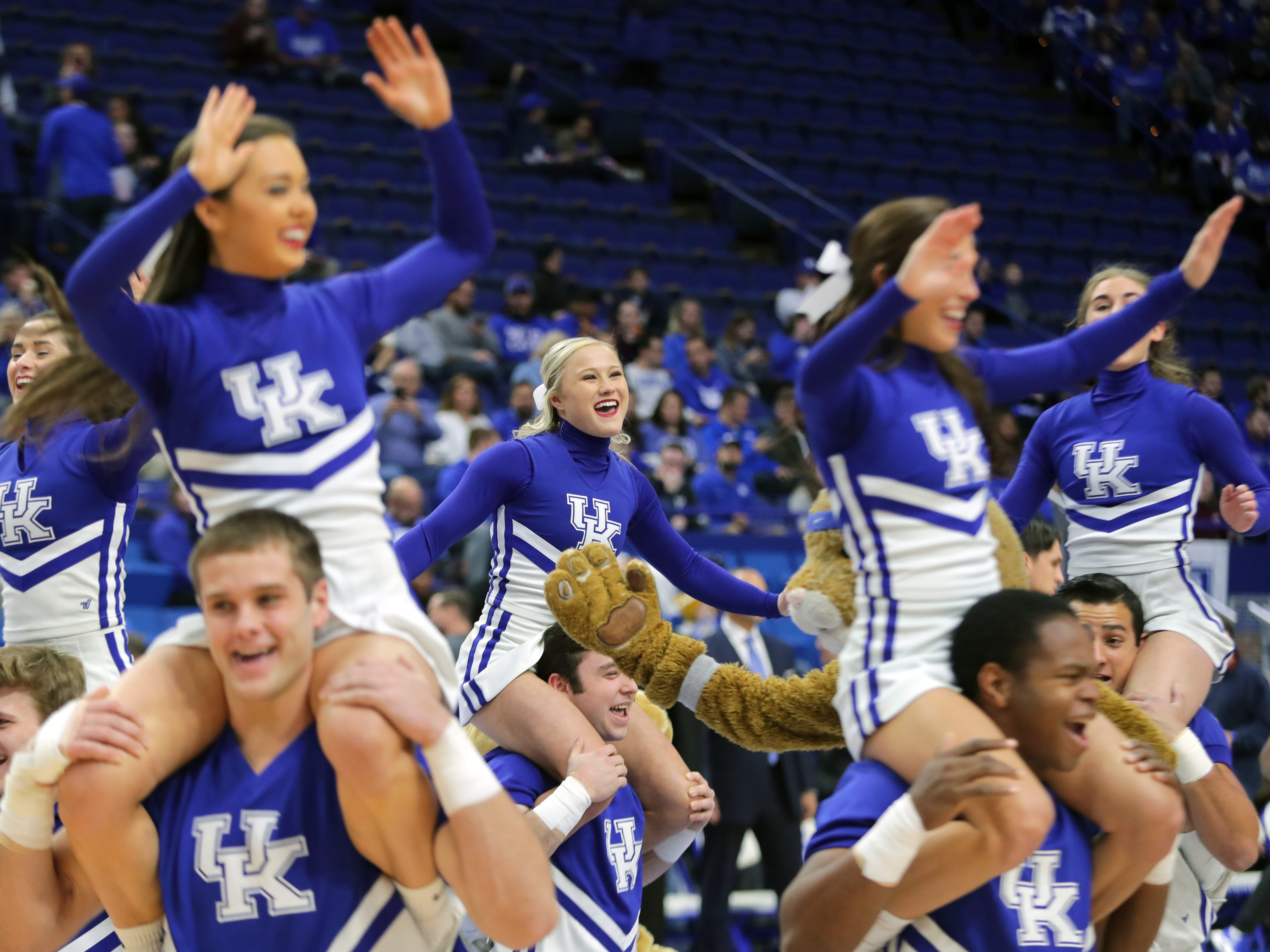 Kentucky's cheer squad entertains the crowd before the game against Winthrop.  Nov. 21, 2018