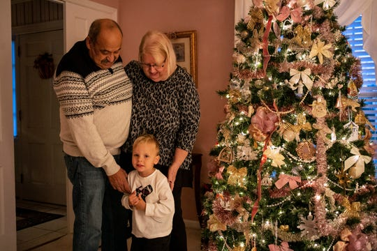 Faye and Jihad Saleh are giving little David William a multiweek Christmas experience with a tree installed by early November.