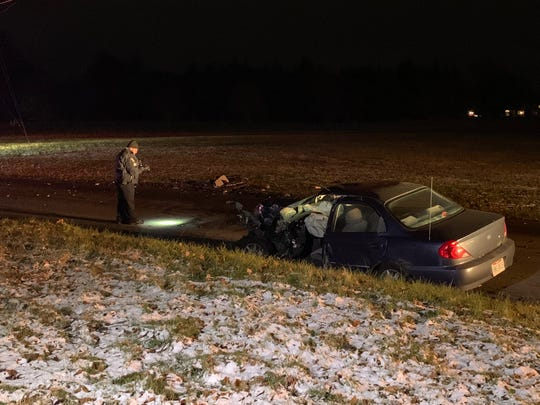 One person sustained serious injuries in a crash involving two cars on Marion Avenue Tuesday, November 20, 2018.