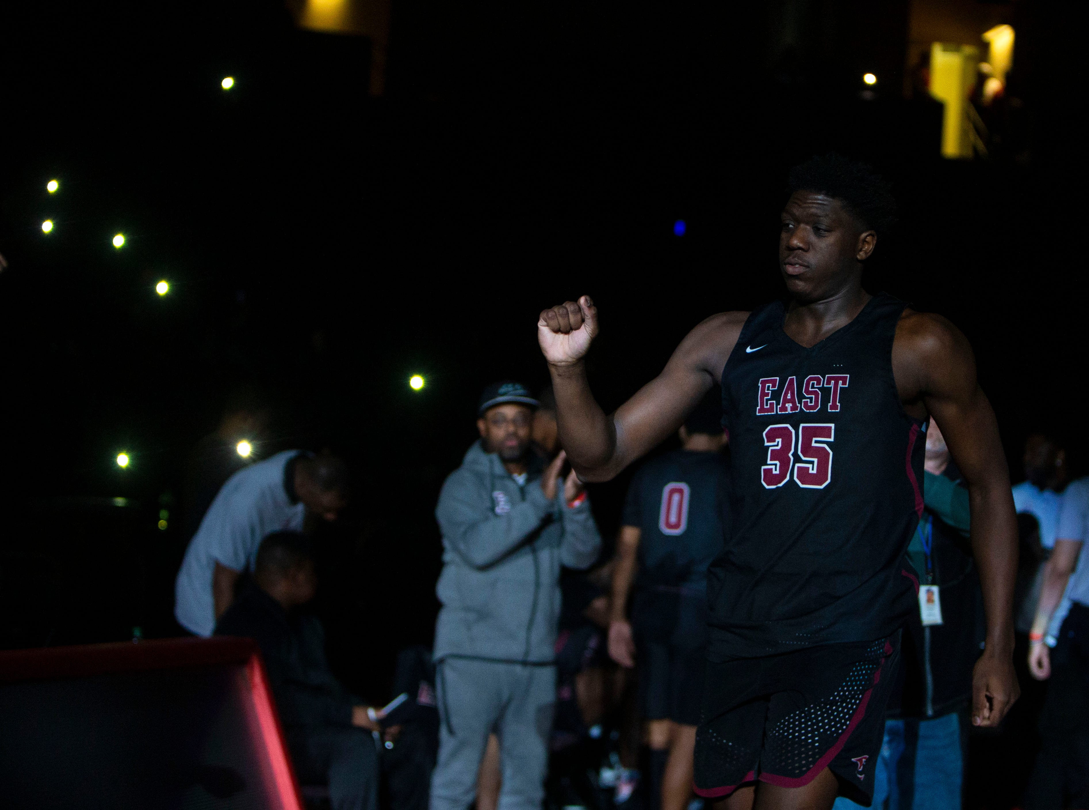 East Memphis Mustangs center Malcolm Dandridge (35) is introduced before a game between the Texas Southern Tigers and the Ohio State Buckeyes