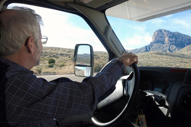 Gary Gunderson drove through the Guadalupe Mountains in Texas on his cross-country health care road trip.