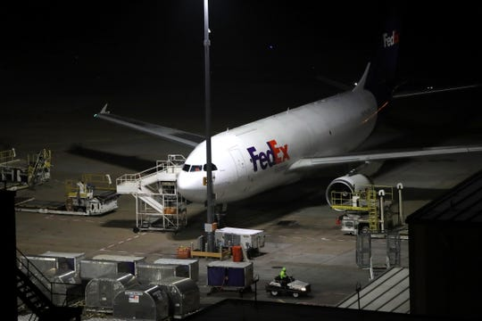 A FedEx superhub at the Memphis International Airport is pictured in this file photo from November 2018.