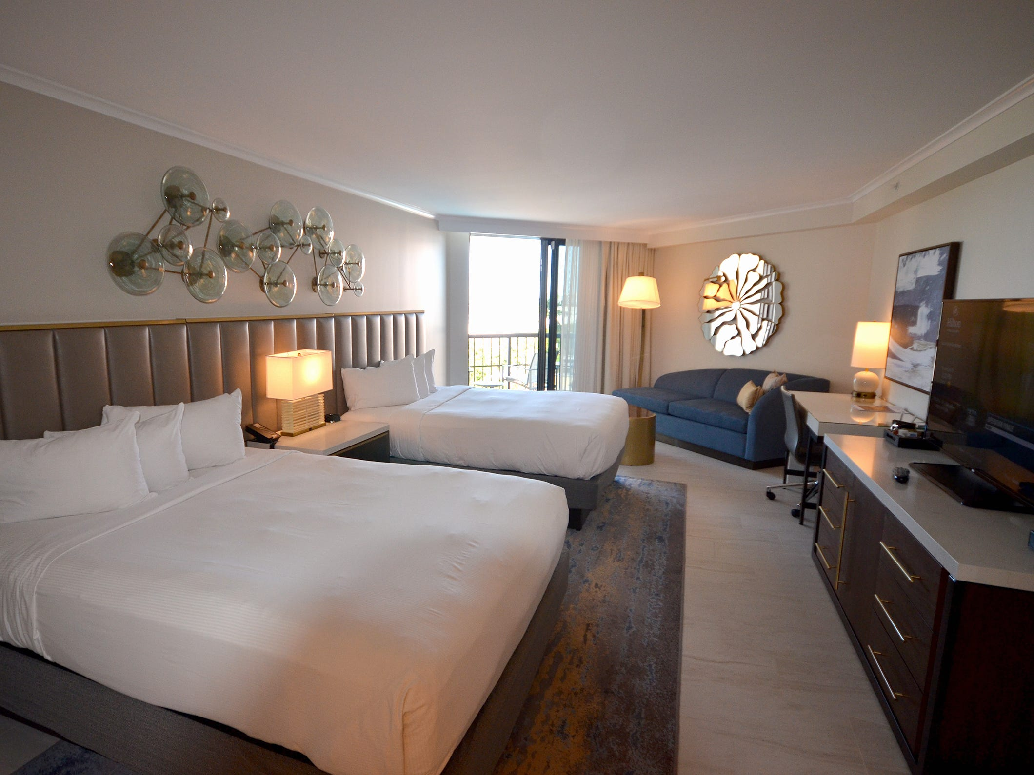 A guest room in the newly renovated Marco Island Beach Resort & Spa.