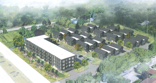 New Land Enterprises has proposed a 48-unit apartment building and 41 three-bedroom townhomes at the former Prange Greenhouse site, at 2510 W. Good Hope Road.