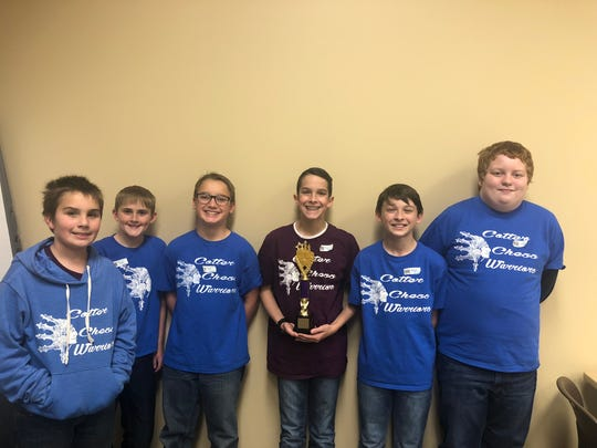 Members of the Cotter Elementary School Chess team are: (from left) Gregory Smith, Trevor Lewis, Cole Principato, Ryan Benedict, Brayden Adams and Luke Duggins.