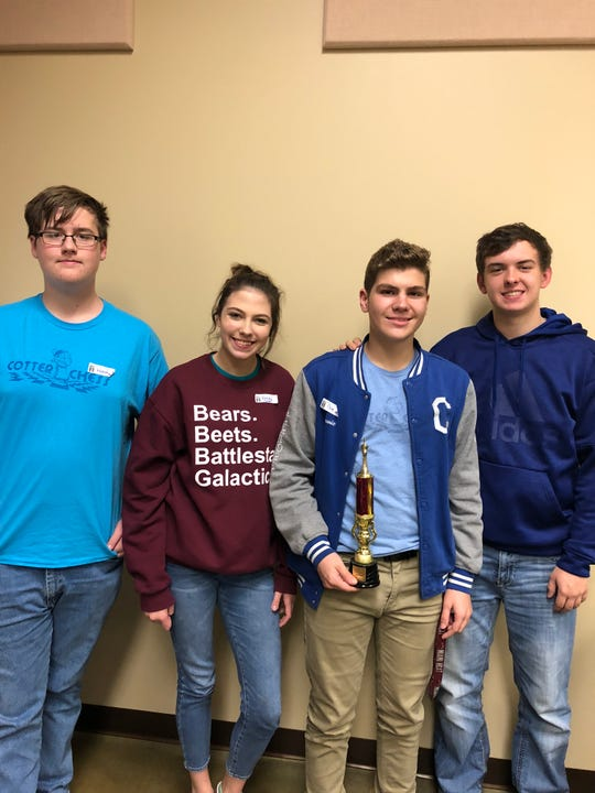 Members of the Cotter High School Chess team are: (from left) Wyatt Smith, Ashley Kittler, Cole Stevenson and Tucker Coots.