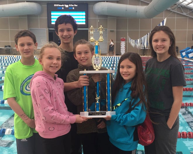 Members of the Mountain Home Hurricane swim team pose with their third-place trophy at Batesville.