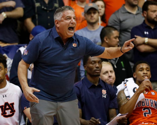 Auburn head coach Bruce Pearl barks at his team during the first half of an NCAA college basketball game against Duke at the Maui Invitational, Tuesday, Nov. 20, 2018, in Lahaina, Hawaii.