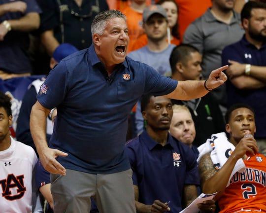 Auburn head coach Bruce Pearl barks at his team during the first half of an NCAA college basketball game against Duke at the Maui Invitational, Tuesday, Nov. 20, 2018, in Lahaina, Hawaii.
