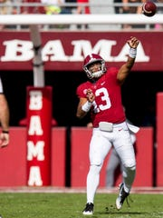 Alabama quarterback Tua Tagovailoa (13) passes against The Citadel in first half action at Bryant-Denny Stadium in Tuscaloosa, Ala., on Saturday November 17, 2018.