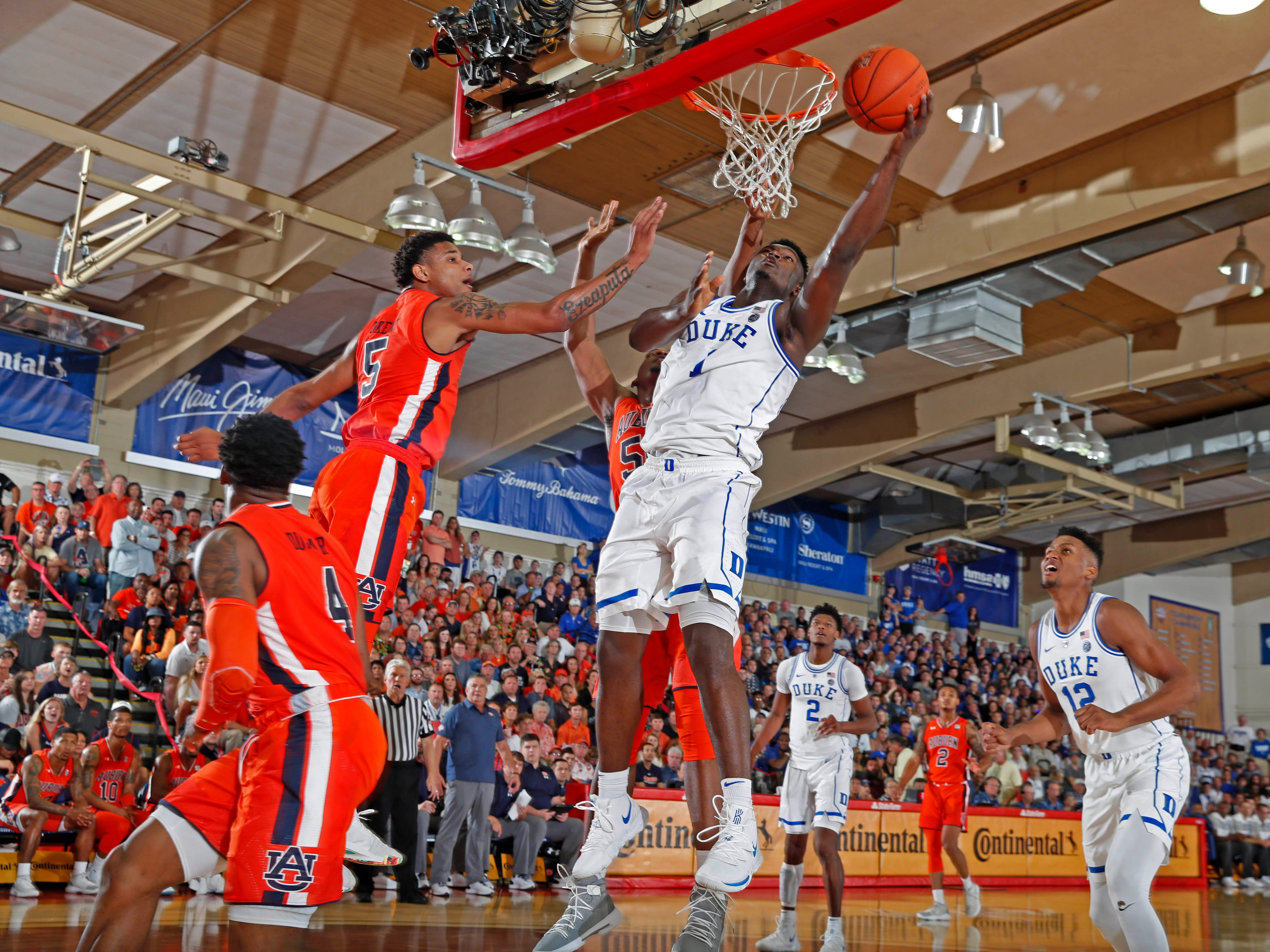 Duke Blue Devils forward Zion Williamson (1) takes a shot against Auburn in the first half during the second round of the Maui Invitational at Lahaina Civic Center.