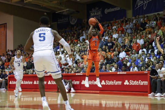 Auburn guard Jared Harper attempts a 3 against Duke during the Maui Invitational on Nov. 20, 2018.