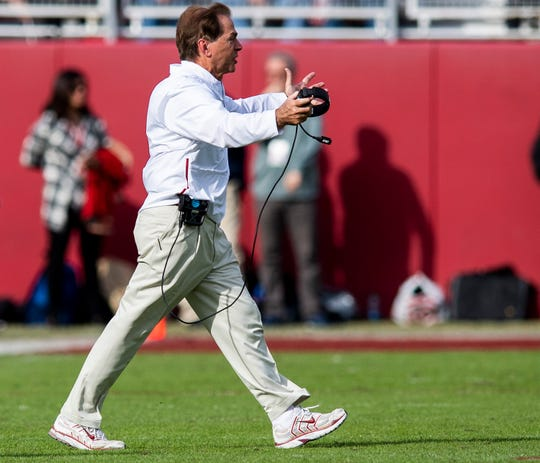 Alabama head coach Nick Saban against The Citadel in second half action at Bryant-Denny Stadium in Tuscaloosa, Ala., on Saturday November 17, 2018.