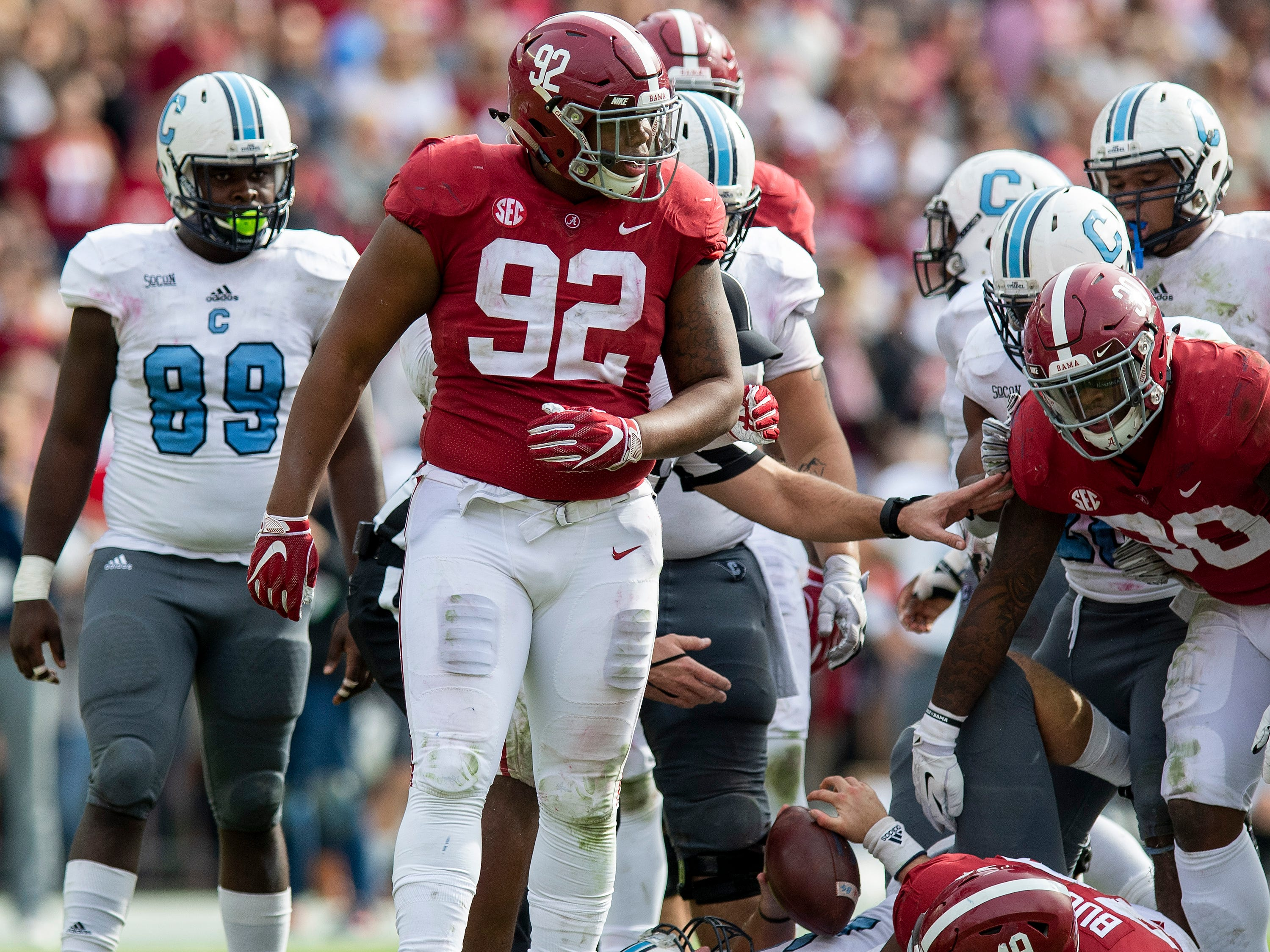 Alabama defensive lineman Quinnen Williams (92) after sacking Citadel quarterback Brandon Rainey (16) in second half action at Bryant-Denny Stadium in Tuscaloosa, Ala., on Saturday November 17, 2018.