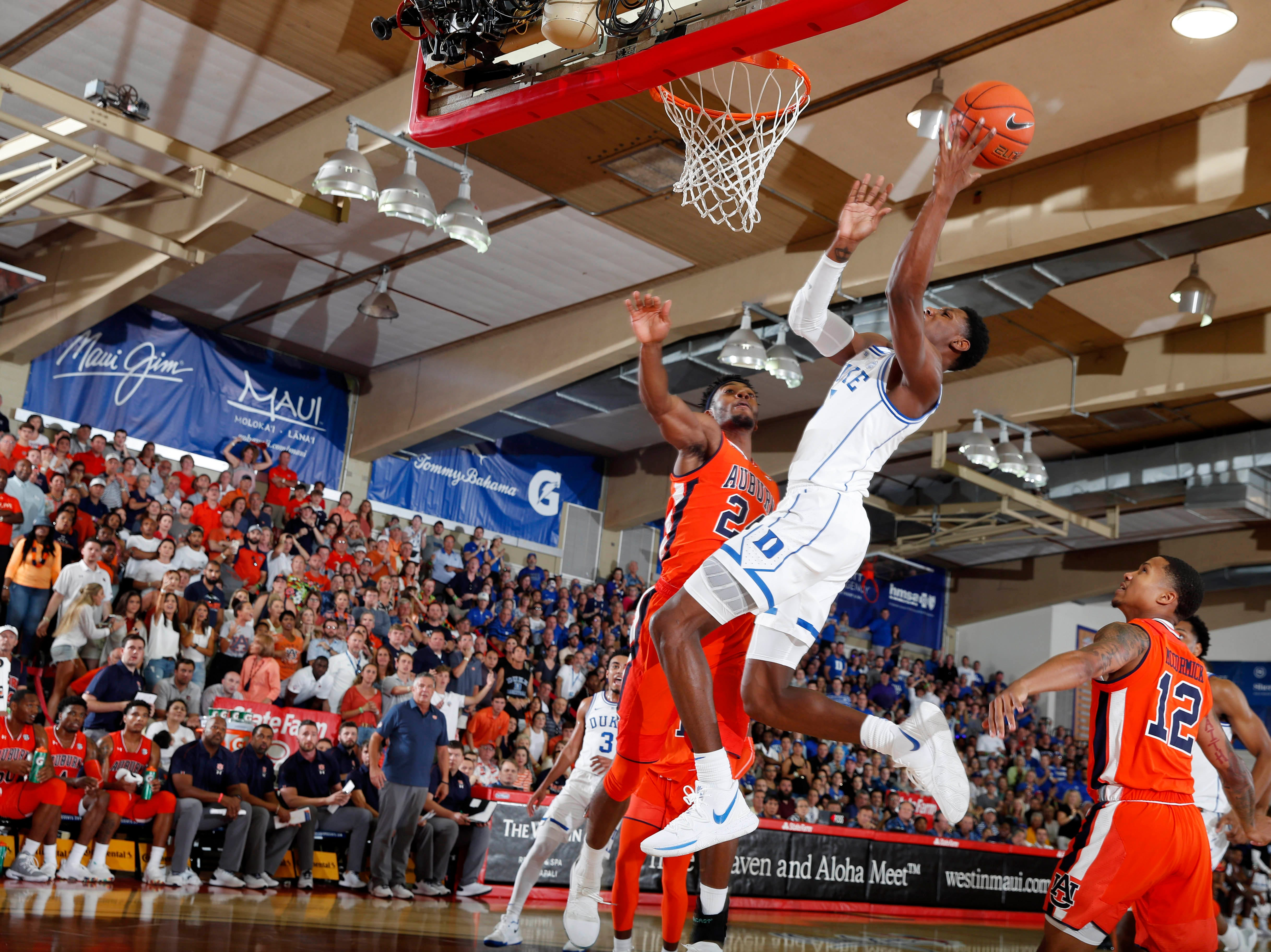 Nov 20, 2018; Lahaina, HI, USA; Duke Blue Devils forward RJ Barrett (5) takes a shot against the Auburn Tigers in the first half during the second round of the Maui Jim Maui Invitational at Lahaina Civic Center. Mandatory Credit: Brian Spurlock-USA TODAY Sports