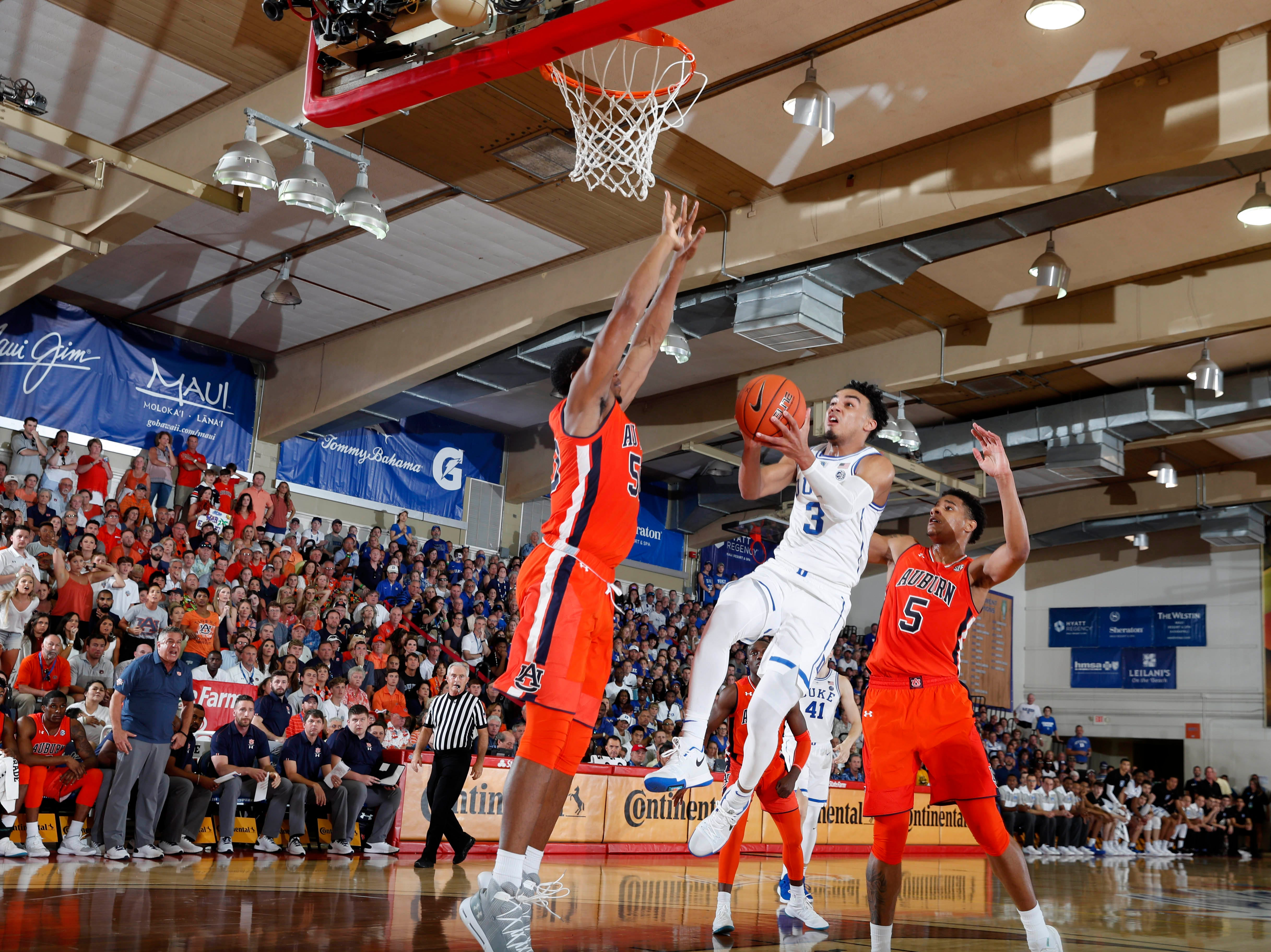 Nov 20, 2018; Lahaina, HI, USA; Duke Blue Devils guard Tre Jones (3) takes a shot against the Auburn Tigers in the first half during the second round of the Maui Jim Maui Invitational at Lahaina Civic Center. Mandatory Credit: Brian Spurlock-USA TODAY Sports