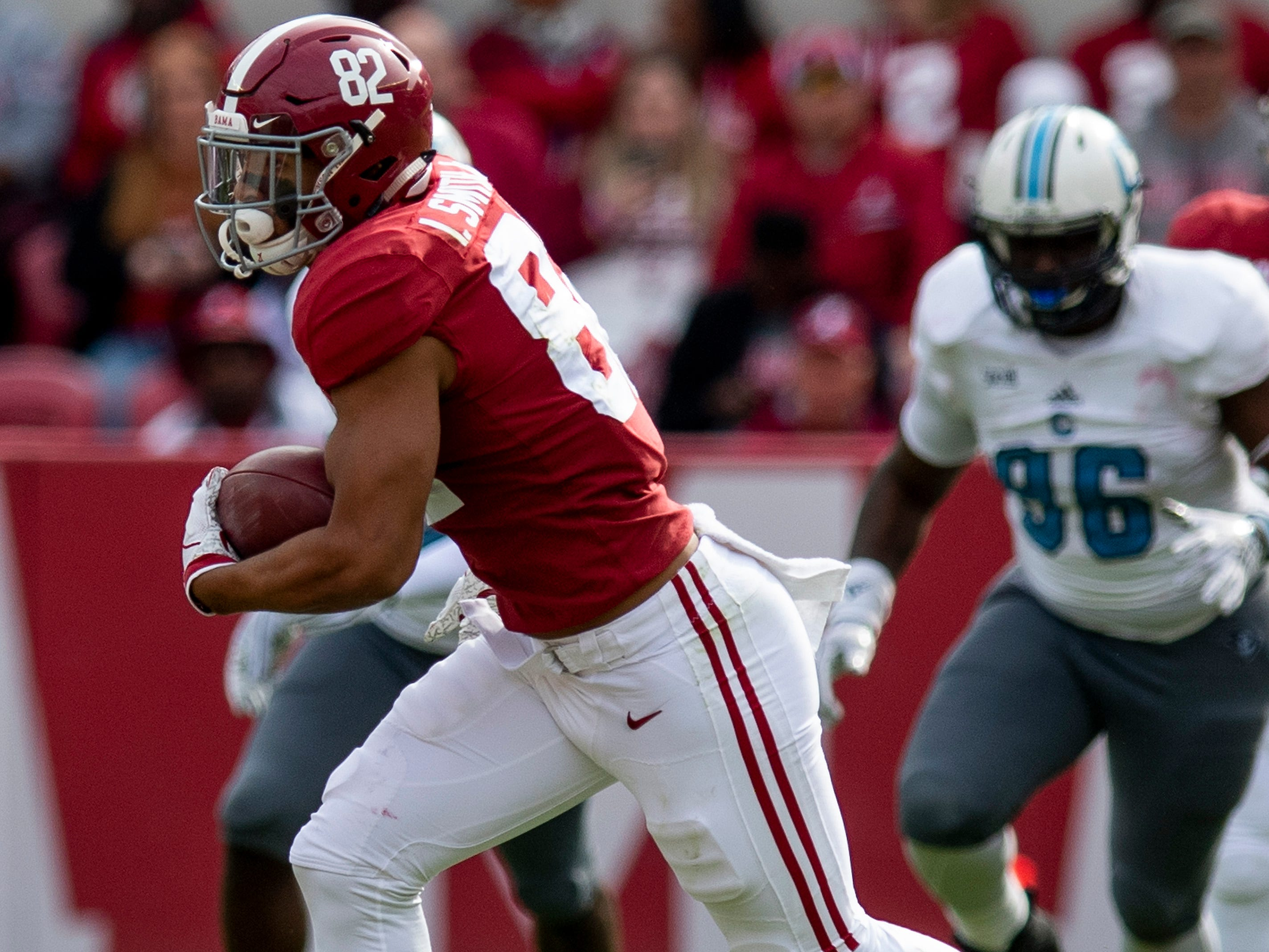 Alabama tight end Irv Smith Jr. (82) carries for a touchdown against The Citadel in second half action at Bryant-Denny Stadium in Tuscaloosa, Ala., on Saturday November 17, 2018.