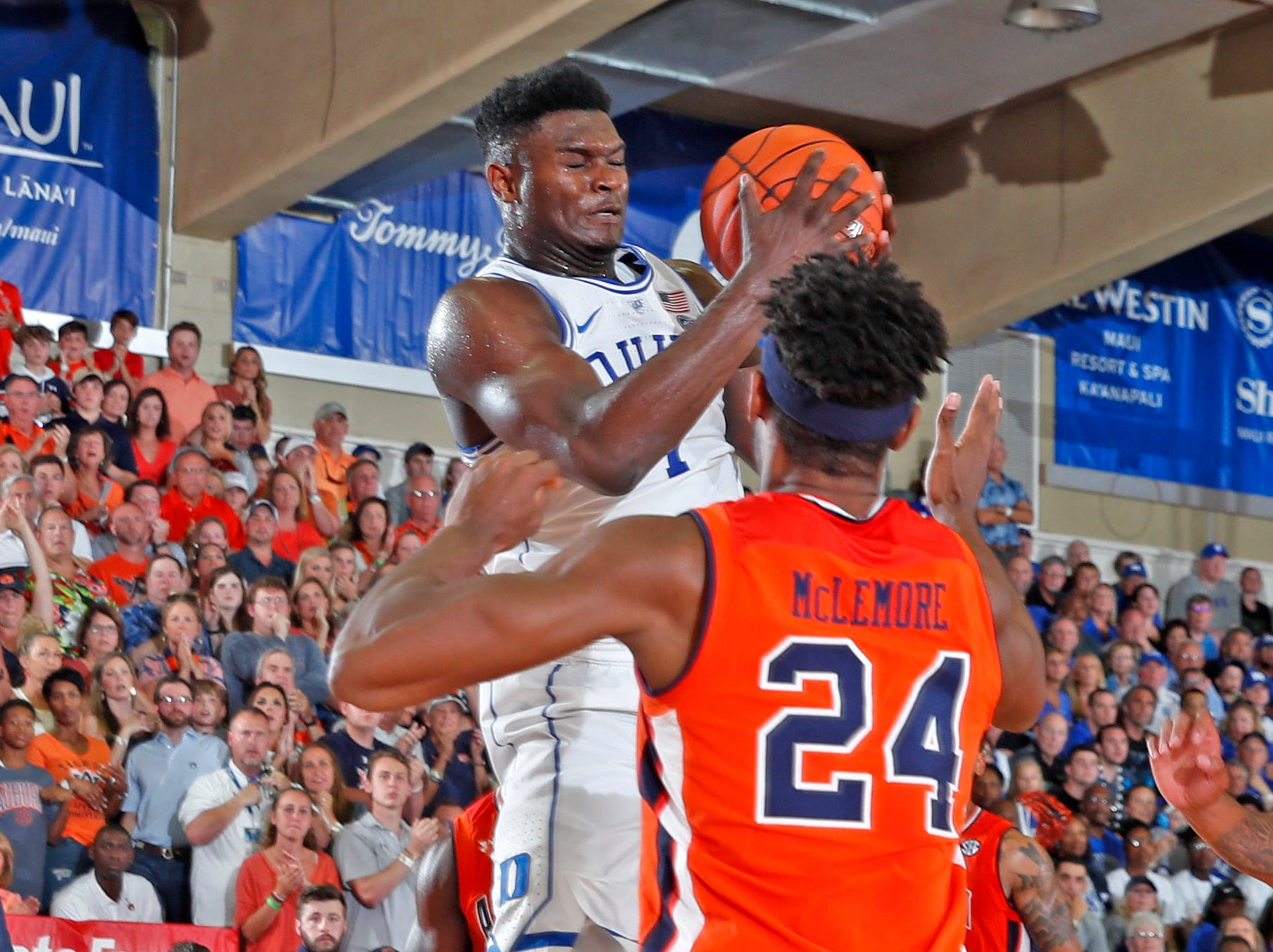Nov 20, 2018; Lahaina, HI, USA; Duke Blue Devils forward Zion Williamson (1) grabs a rebound against Auburn Tigers forward Anfernee McLemore (24) in the first half during the second round of the Maui Jim Maui Invitational at Lahaina Civic Center. Mandatory Credit: Brian Spurlock-USA TODAY Sports
