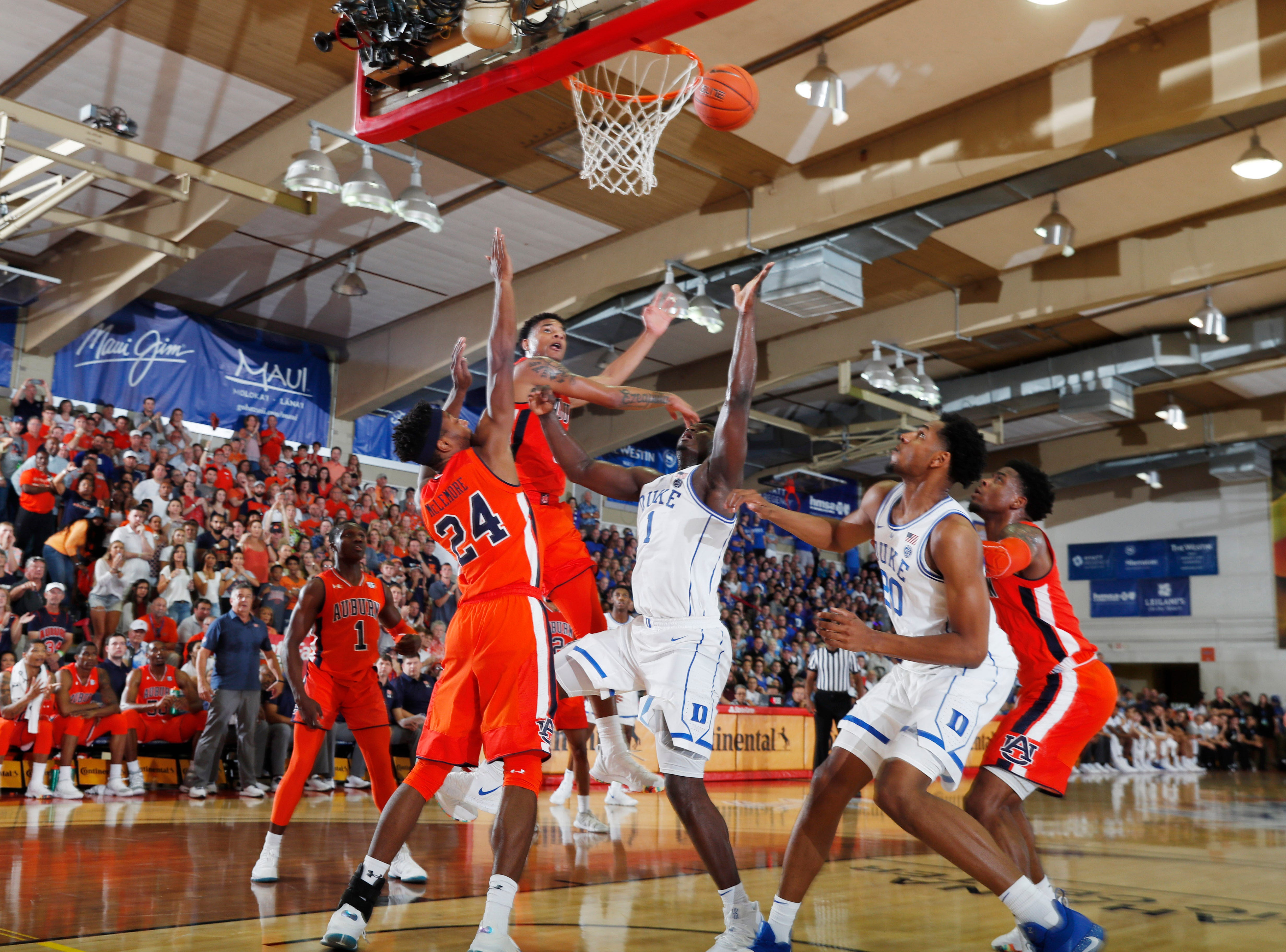 Nov 20, 2018; Lahaina, HI, USA; Duke Blue Devils forward Zion Williamson (1) takes a shot against the Auburn Tigers in the first half during the second round of the Maui Jim Maui Invitational at Lahaina Civic Center. Mandatory Credit: Brian Spurlock-USA TODAY Sports