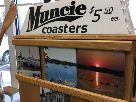 Muncie's post office at 4801 N. Wheeling Ave. sells merchandise related to Muncie, including coasters of with pictures of signature Muncie places.