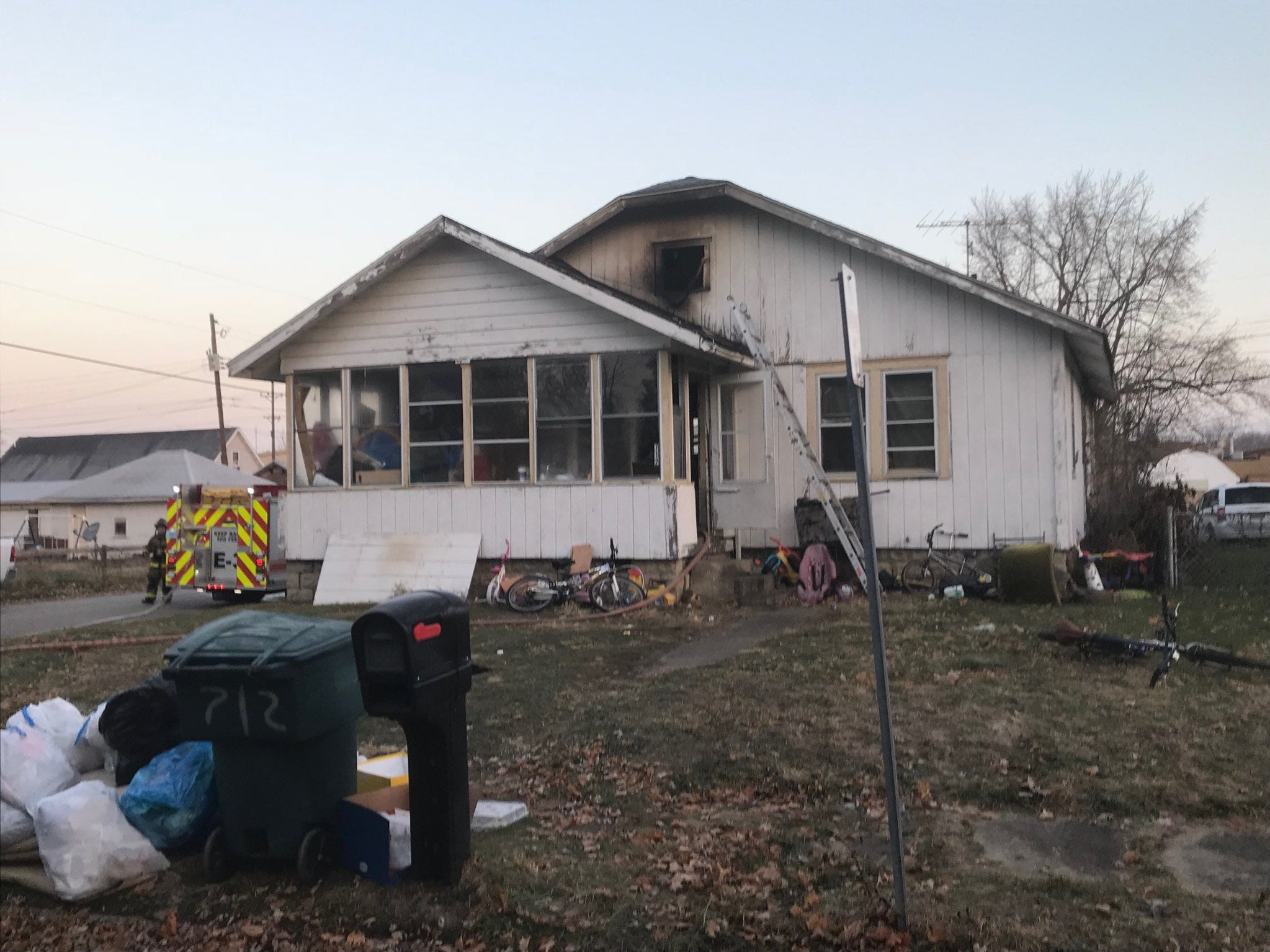 The scene of fatal house fire at 712 W. Fifth St. in Muncie on Wednesday morning.