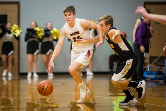 Blackford's Luke Brown brings the ball up against Cowan in the season opener. The Bruins won 90-49.
