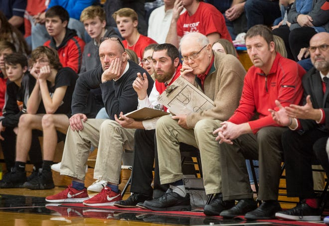 Blackford coach Jerry Hoover and his staff watch the action during the Bruins' season-opening win over Cowan. Hoover is part of the Indiana Basketball Hall of Fame 2019 induction class.
