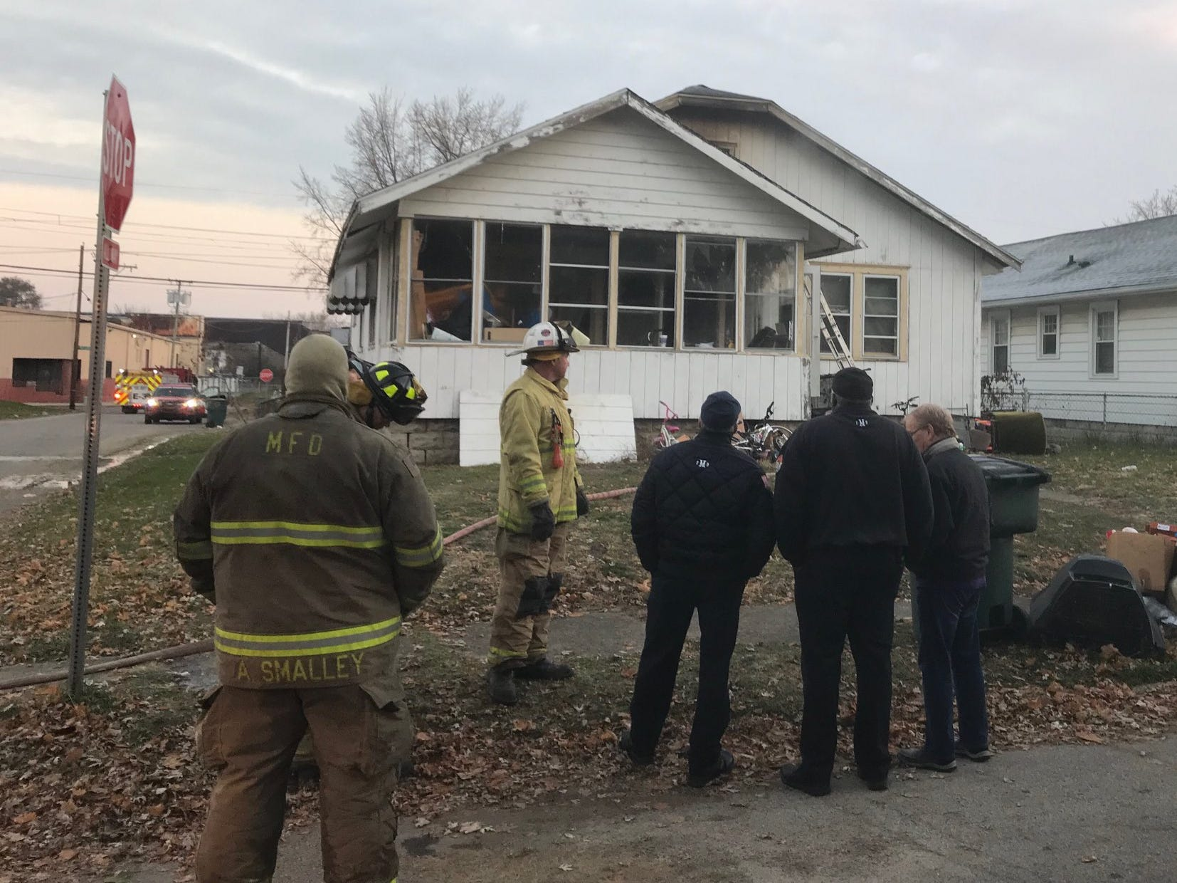 The scene of a fatal house fire at 712 W. Fifth St. in Muncie Wednesday morning.
