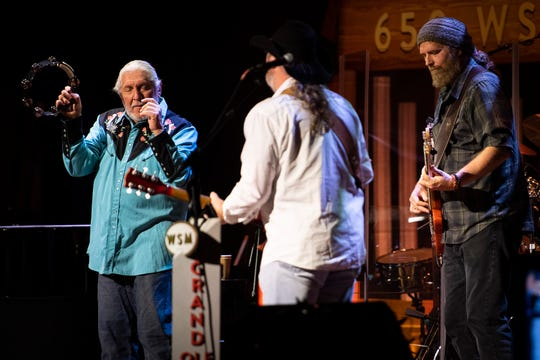 Doug Gray, Rick Willis and Tony Black of the Marshall Tucker Band perform during the Grand Ole Opry at the Ryman Auditorium in Nashville on Nov. 20, 2018.