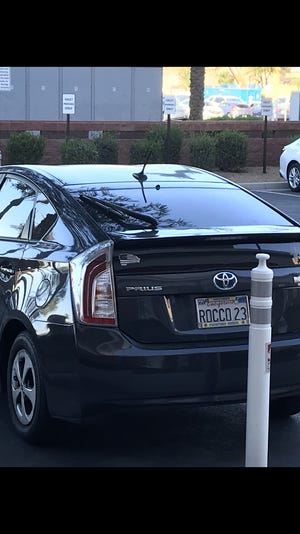 Turns out the curious Prius belongs to Rocco Grimaldi's father.