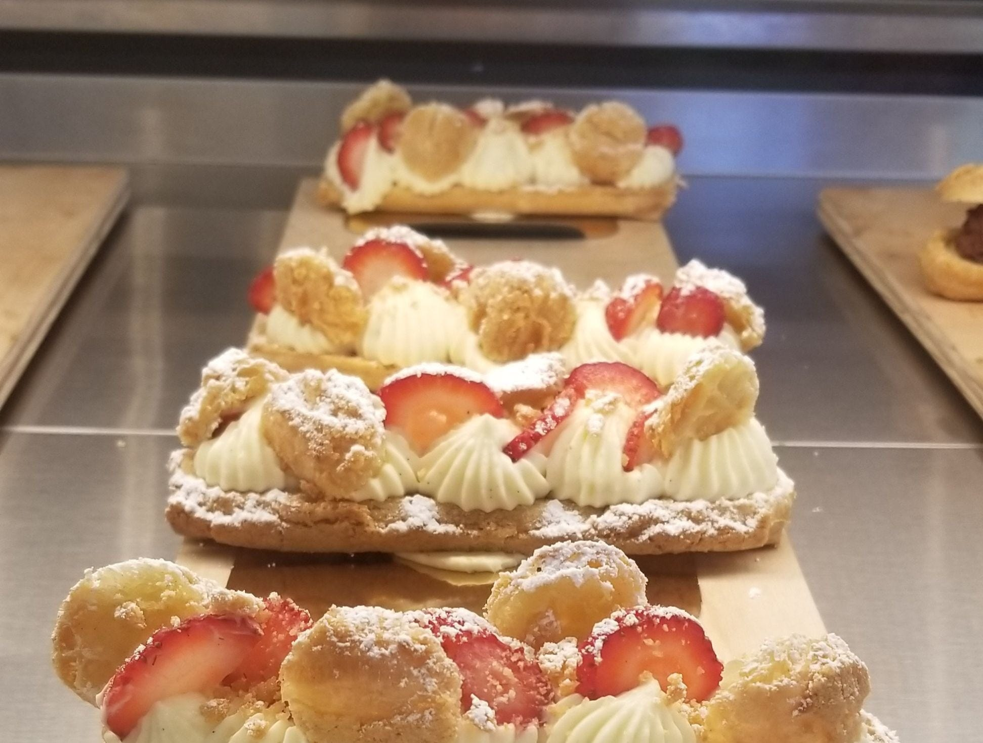 A strawberries-and-cream eclair from D'Andrews Bakery.