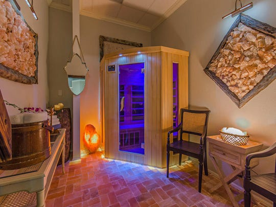 The infrared sauna at Salt Therapy Grotto & Spa in Naples uses light to create heat and help relieve muscle pain, inflammation and joint pain.