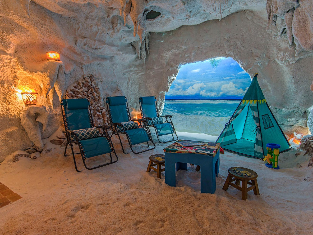 The children's salt grotto at Salt Therapy Grotto & Spa in Naples releases salt particles in the air, designed to improve symptoms in children affected by respiratory and skin conditions.