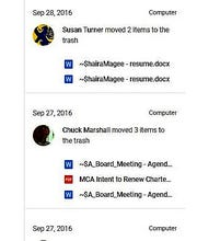 A screencapture of Mason Classical Academy's Google Drive activity log shows the existence and deletion of records uploaded by former treasurer Joe Baird.