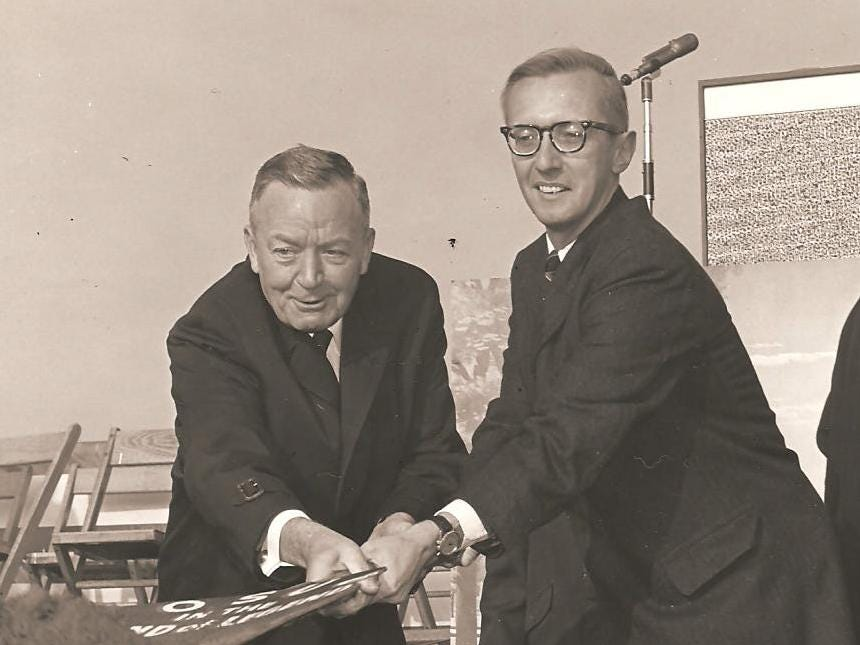 Founding Fathers of Ohio State Newark Howard E. LeFevre (left) and Gib Reese (right) at the groundbreaking ceremony for Founders Hall on the Newark Campus.