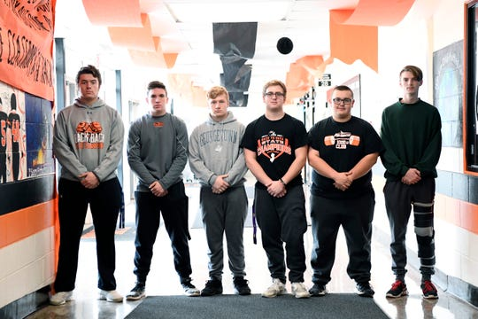 Hasbrouck Heights seniors, from left, Anthony Marino, Chris Thibault, Michael Lohrmann, Frank Battaglia, Alex Daus, and Declan Sonzogni photographed in the high school on Tuesday, Nov. 20, 2018. All six have played football together since their freshman year.
