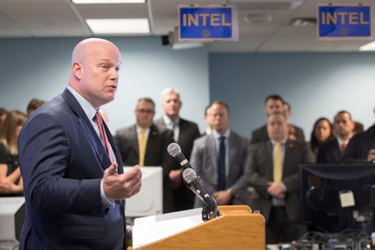 Acting Attorney General Matthew Whitaker addresses law enforcement officials at the Joint Terrorism Task Force, Wednesday, Nov. 21, 2018, in New York. (AP Photo/Mary Altaffer)