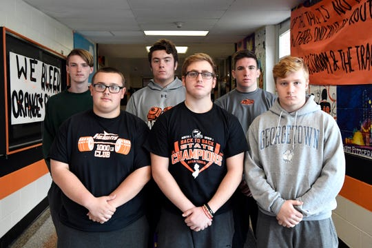 Hasbrouck Heights seniors, from left, Declan Sonzogni, Alex Daus, Anthony Marino, Frank Battaglia, Chris Thibault, and Michael Lohrmann photographed in the high school on Tuesday, Nov. 20, 2018. All six have played football together since their freshman year.