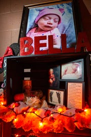An altar for Isabella Marie Lerma, the daughter of Maria Guadalupe Carrillo, is on display Saturday, Nov. 17, 2018 for the wedding reception of Castillo Jacobo Martos . The wedding was themed Día de los Muertos in honor of Maria's daughter.