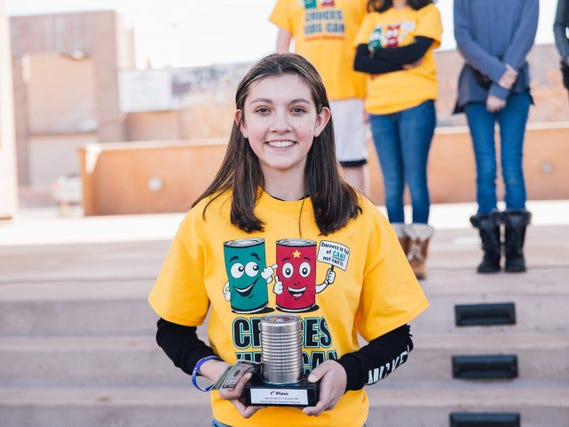 "Michelle Kass won first place in the age 6 to 16 age group with her ""Candle Creations"" booth. Kass was among 70 students competing in the Cruces Kids Can Business Showcase on Saturday, Nov. 17, 2018 in downtown Las Cruces."