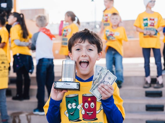 "Zachary Beasley wins first place in his  group, ages 6 to 9, on Saturday, Nov. 17, 2018 for his business, ""Custom Resin Creations."" He takes home a trophy and cash prize in the Cruces Kids Can Business Showcase, held in downtown Las Cruces."