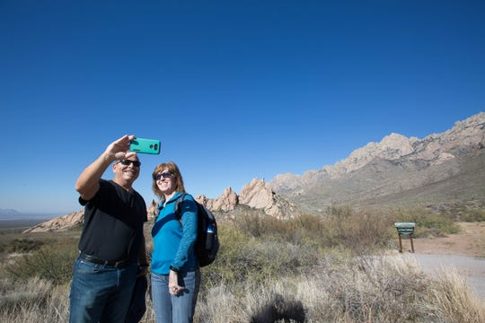 Willie Kruer, left, and Eileen Kruer, pause to take a selfie after hiking the Dripping Springs trail  Wednesday Nov. 21, 2018, before getting back in their vehicle and traveling to Arizona to spend the Thanksgiving holiday with friends. The Kruers are driving from Florida to Arizona said they enjoyed the hike and loved seeing the Organ Mountains.