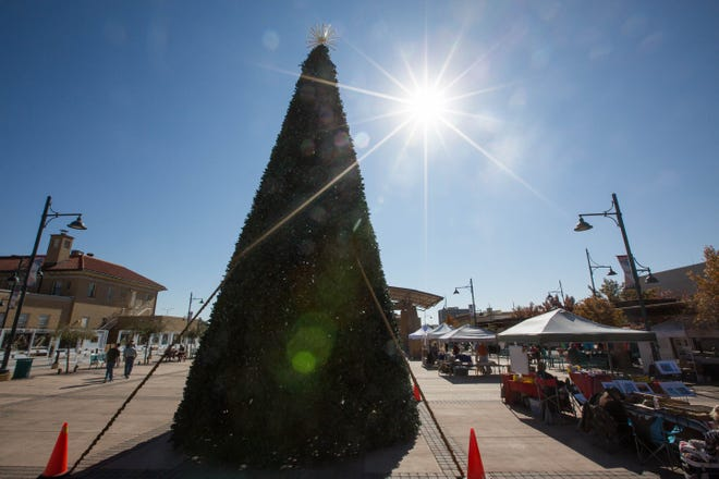 The Las Cruces City Christmas tree, set up waiting for the lighting ceremony on December 1. Seen here during the Wednesday Market, Wednesday November 21, 2018.
