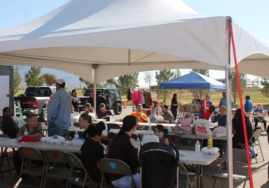 More than 750 people attended the Mountain View Assembly of God Thanksgiving Outreach in 2018 at the Travis C. Hooser Ballfield Complex on Walker Avenue.