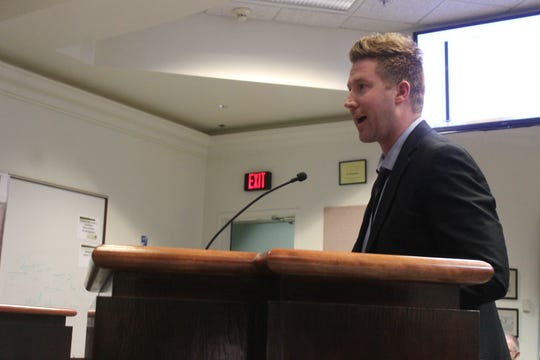Assistant City Attorney Dustin Johnson addresses Commissioner concerns about prosecuting harassment charges in Municipal Court at the regular Commission meeting on Nov. 20.