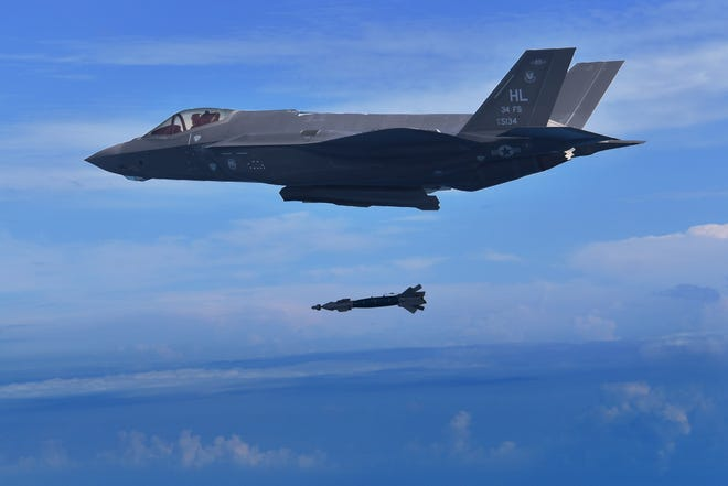 A pilot assigned to the 388th Fighter Wing's 34th Fighter Squadron drops a GBU-39 bomb from an F-35A Lightning II Nov. 7. The 34th FS is the first unit to employ the GBU-39 in combat training.
